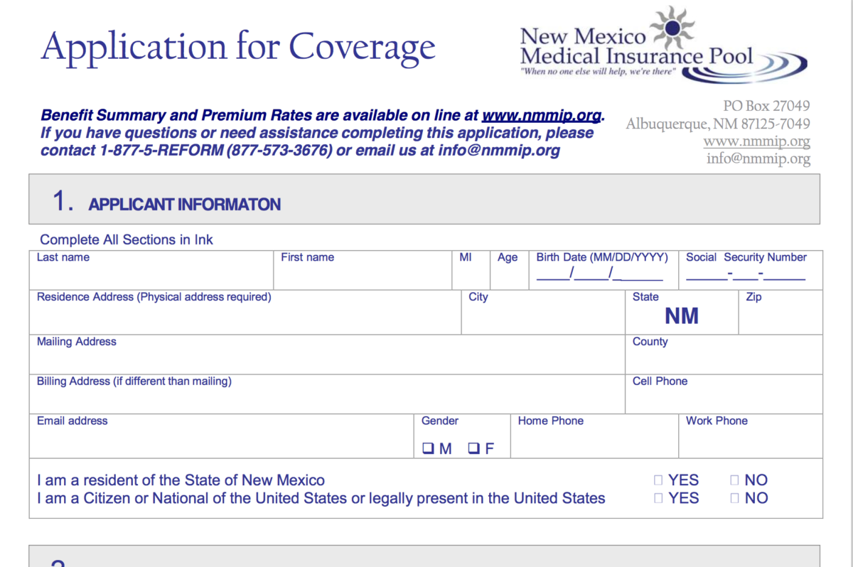 Application for Coverage